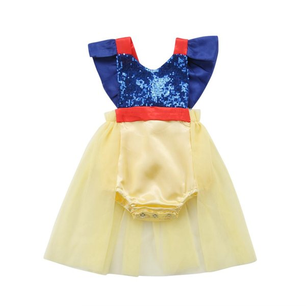 Newborn Baby Girls Dresses Sequin Tulle Baby Bodysuit Cute Princess Infant Jumpsuit Sunsuit Party Birthday Kids Clothes Outfits