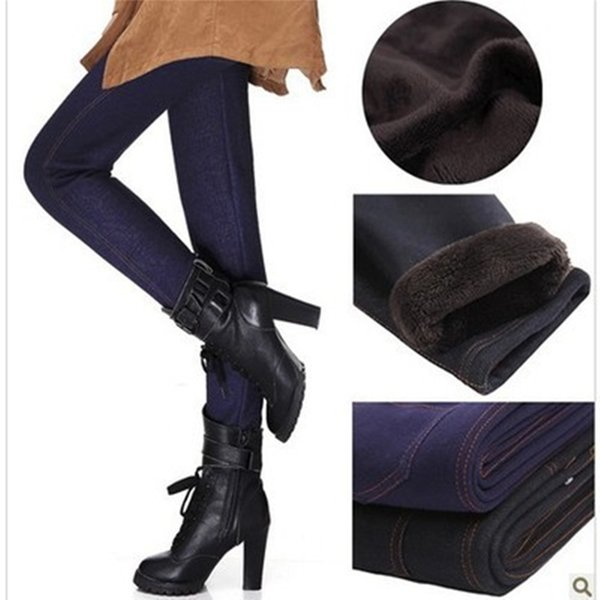 2016 Winter Leggings Women Thickening Warm Pants Fashion Fleeces Inside Denim Trousers Footless Leggings With Pockets