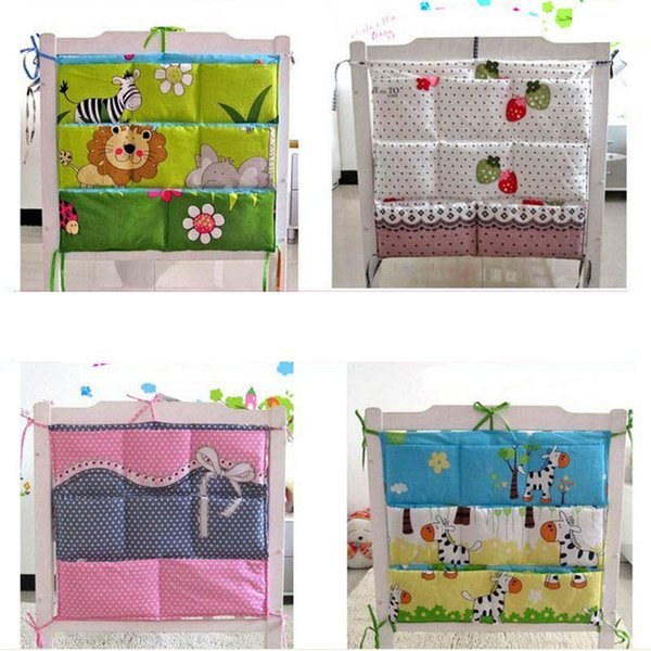 Cartoon Rooms Nursery Hanging Storage Bag Baby Cot Bed Crib Organizer 60 *52cm Toy Diaper Pocket For Newborn Crib Bedding Set