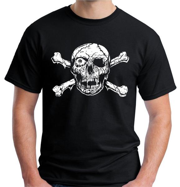 Velocitee Camiseta para hombre Skull Crossbones Pirata Horror gótico Zombie Biker V183 100% algodón de manga corta con cuello en O Tops Camisetas