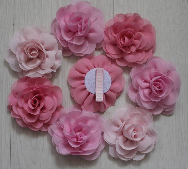 20pcs 8cm soft chiffon fabric clip flowers for girls hair accessories,babies hair clip flowers,toddler clip flowers