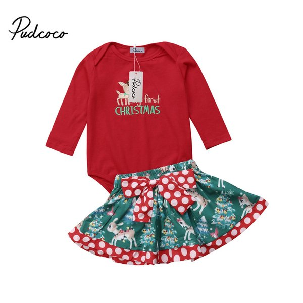 2pcs Christmas Xmas Newborn Baby Girl Bodysuit Romper Tutu Bow Skirt Floral Dress Outfits Costume Cotton Children Clothing Set