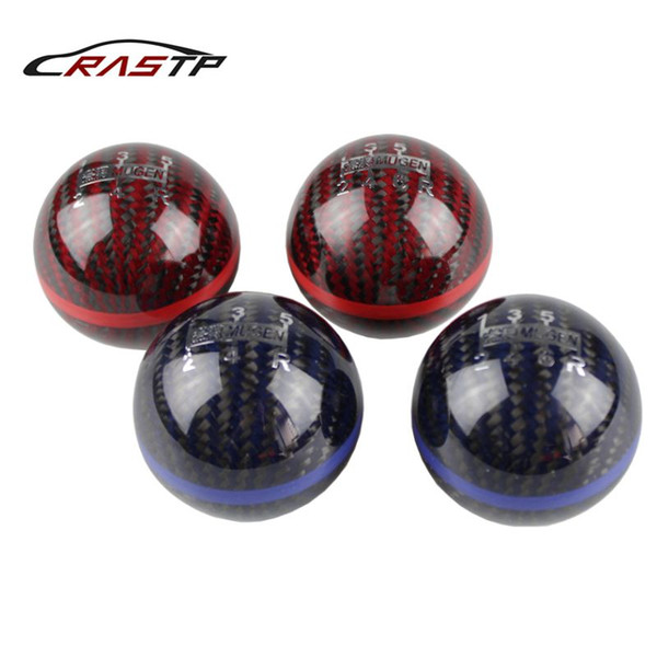 best selling RASTP - Mugen Ball Type 5 Speed And 6 Speed Racing Gear Shift knob Black Carbon Fiber with Red Line RS-SFN013