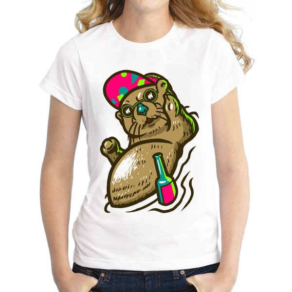 Women's Tee 2018 Women Fashion Otter Funny Design T Shirt Novelty Tops Lady Otter Drinking Printed Short Sleeve Tees