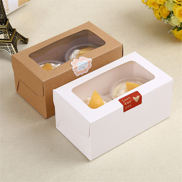 kraft Card Paper Cupcake Box 2 Cup Cake Holders Muffin Cake Boxes Dessert Portable Package Box Tray Gift Favor LZ1920