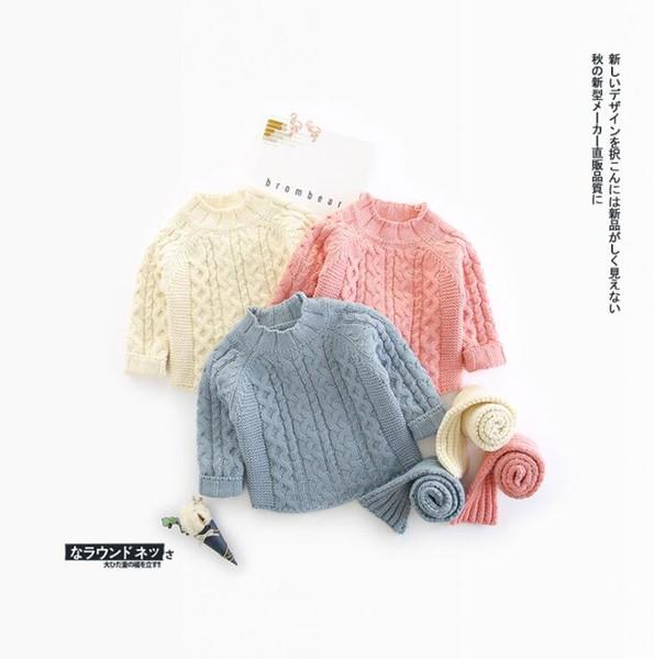 2018 style coréen filles chandail tricoté avec écharpe automne hiver mode filles chandails 3-8 t HE388