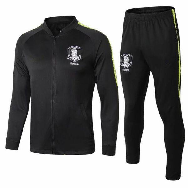2018 Soccer Jacket Korea chándal Chaqueta Set Hombres Kit manga larga negra Cremallera completa Training suit Sportswear Set