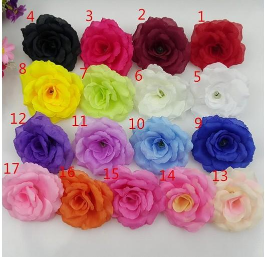 200 pcs / lot 8 cm burgundy Artificial flowers heads Big rose ball head brooch festival Wedding Decoration Silk flower