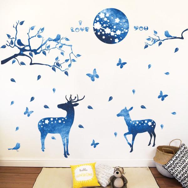 60x90cm синий олень Главная стикер стены гостиной Спальня украшения стены диван телевизор фон бумаги