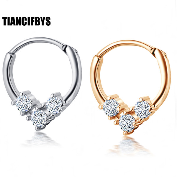 b70cbc9e6 TianciFBYJS Nose Septum Ring Segment Clicker Hinged CZ Gems Ear Hoop Daith  Piercing Ear Helix Cuff