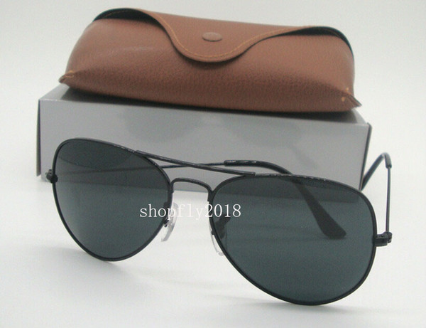 Drop Free Shipping Classic Pilot Mens Womens Sunglasses Metal Sun Glasses Driving Eyewear Black Frame Black Glass Lenses With Brown Case