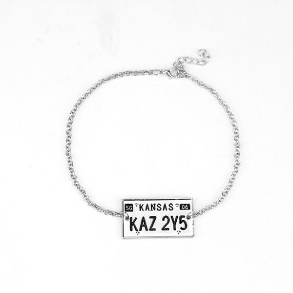 Envío de la gota Joyería sobrenatural Pulsera sobrenatural Etiqueta de perro pulsera KAZ 2Y5 Número de placa de matrícula Colgante joyería de la vendimia