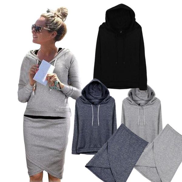 Plus Size S-4XL Mode féminine manches longues Sweats à capuche Sweats + Jupes Ensembles Costume Sport Survêtements Survêtement Crop Top Et Jupe Ensemble HB88