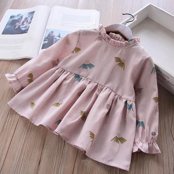 Promotion Sale Girls Floral Print Long Sleeves Dresses Fall 2018 Kids Boutique Clothing Korean Cute 2-7Y Little Girls Cotton Dresses
