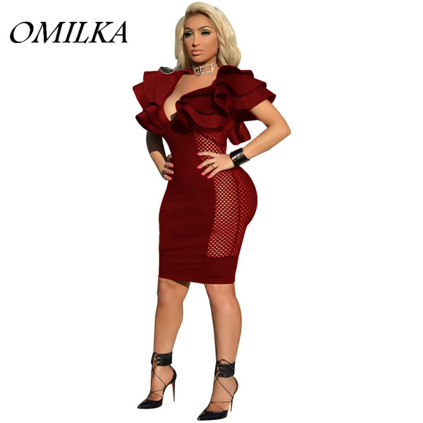 OMILKA 2018 Summer Women Butterfly Sleeve V Neck Mesh Bodycon Dress Sexy Black Blue Red Night Club Party Hollow Out Mini Dress
