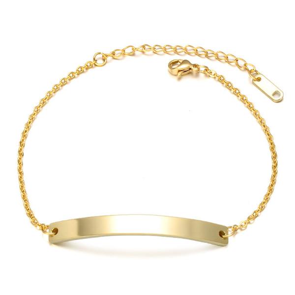 Custom Name ID Bar Bracelet Stainless Steel Initial Charm Bracelets For Women Men Personalize Jewelry Best Friends Gift