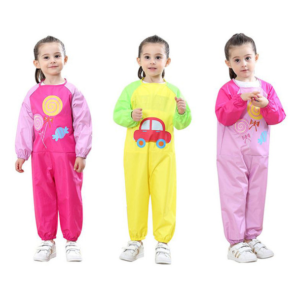 Kids Jumpsuit cotton waterproof coverall raincoat Children baby Apron for play sand water drawing climbing dinner free shipping