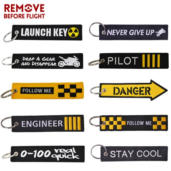 REMOVE BEFORE FLIGHT Novelty Keychain Launch Key Chain Bijoux Keychains for Motorcycles and Cars Key Tag New Embroidery Fobs
