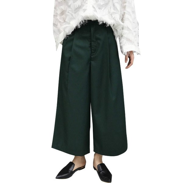 New Men Retro Fashion Loose Casual Trousers Wide Leg Pant Male Fashion Show Japan Style Hip Hop Harem Straight Kimono Pant