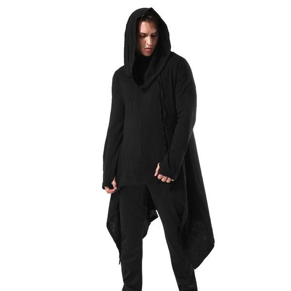 Мужская 100% хлопок Асимметричная свободная посадка Большой пуловер с длинным капюшоном Готические толстовки с капюшоном