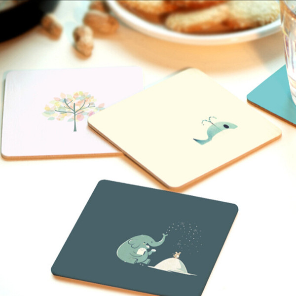 CFen A's Creative High Quality Wood Coasters Cup drinks Holder Non-slip heat proof coffee drink Coasters Mat Pad hand painted