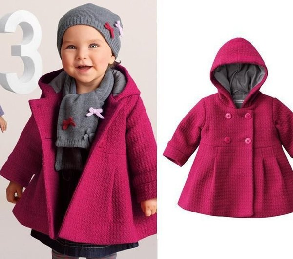 New Baby Girl Coat Pure Pink Warm Winter Bambini Outwear Trench Fashion Abbigliamento per bambini Vendita al dettaglio all'ingrosso DS6