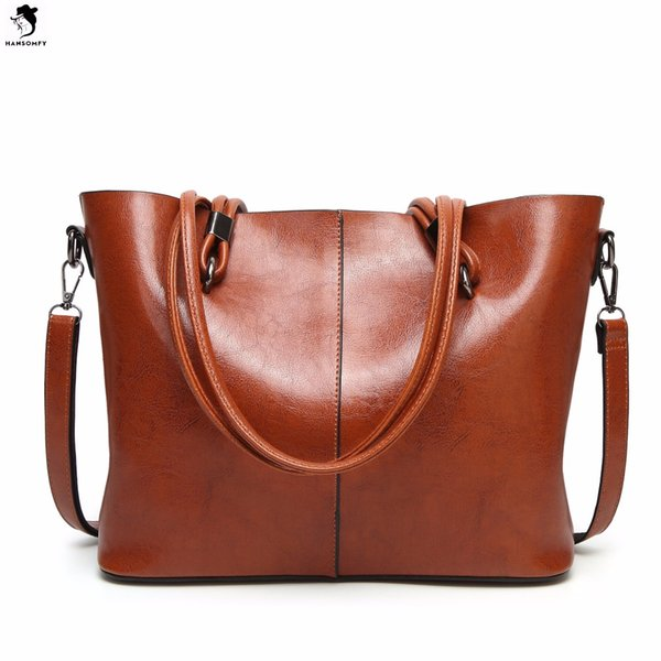 HANSOMFY Women Bags High Quality Patent Leather Shoulder Bags Vintage PU Tote Solid Large Capacity Handbag Womens Retro Satchels