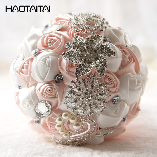 Bouquet Da Sposa A Cascata.Acquista Bouquet Da Sposa Rosa Bianco Giallo Da Sposa Con Fiori