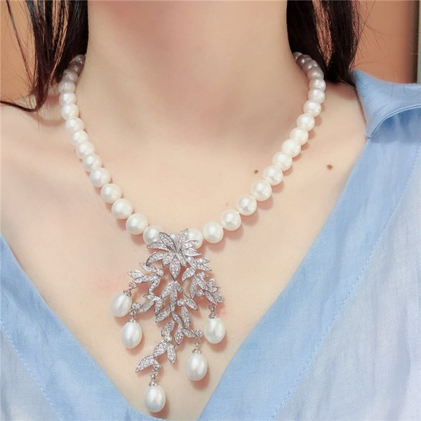 Hand knotted natural 9-10mm white freshwater pearl leaves micro inlay zircon accessoriese clasp sweater necklace long 45 cm