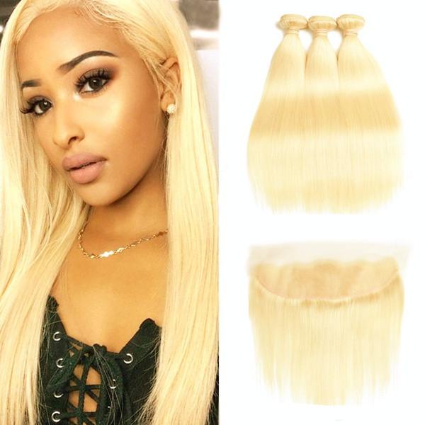 613 Blonde Bundles With Frontal Ear To Ear Straight Human Hair Bundles Blonde Virgin Hair Weave 3 Bundles with Closure 613# Blonde