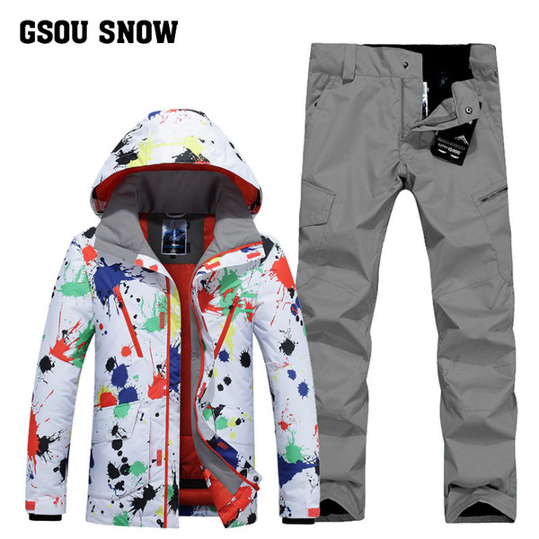 GSOU SNOW Men's Ski Suit Winter Outdoor Windproof Warm Ski Wear Waterproof Quick Drying Jacket+ Pants For Men