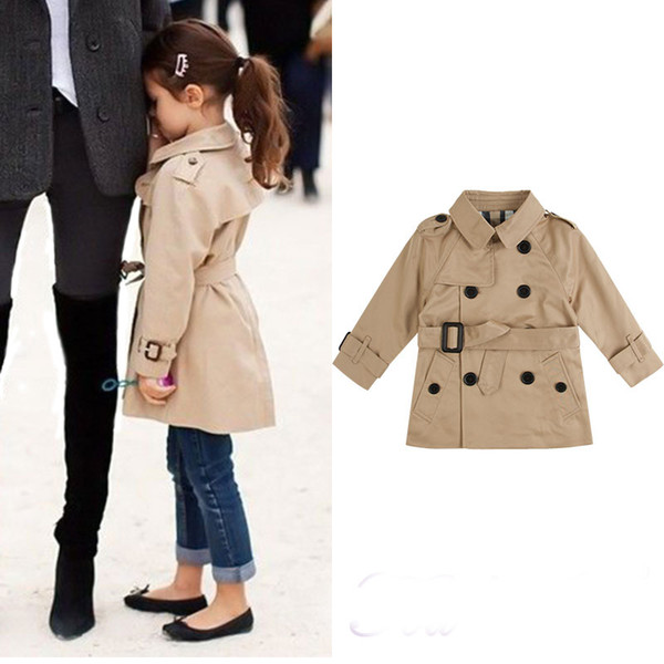 top popular Girls Trench Coat Autumn Winter Children Parka Outerwear&Coat for Girls Double Breasted Kids Clothing Tops Jacket Outwear 2-8T 2019