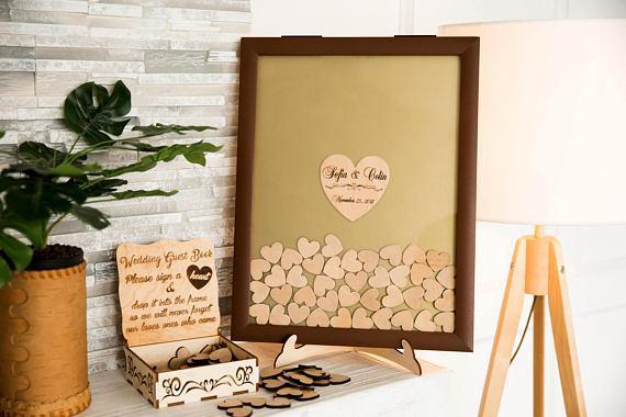 personalizzato marrone matrimonio in legno rustico inciso Guestbook alternativi cornice memoria drop box firma guest book