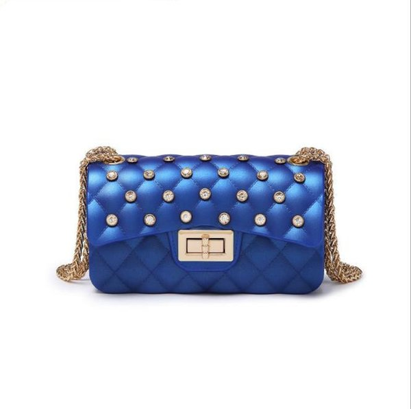 2019 Best-selling new diamond frosted jelly bag European and American diamonds slanting across PVC mobile phone girl bag