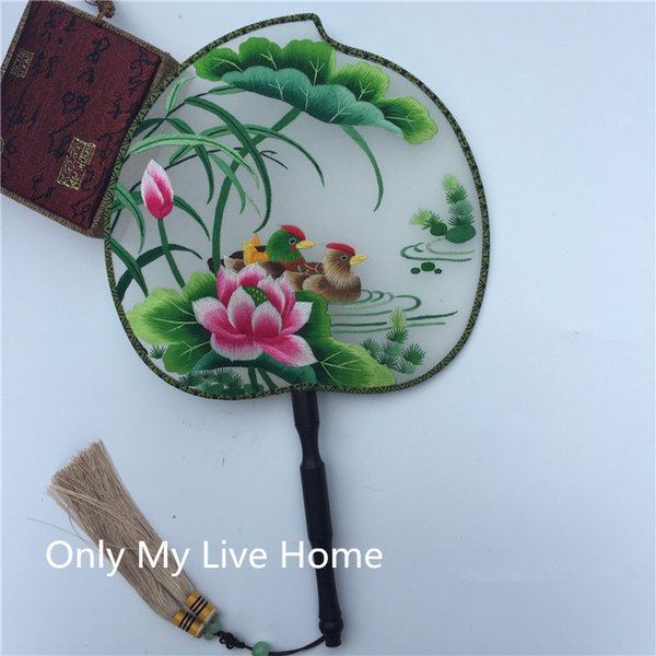 Fine Heart shaped Chinese Hand Held Fans for Weddings Women Fan Traditional Craft Handle Full Handmade Double Embroidery Natural Silk Fan
