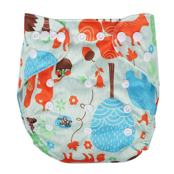 2018 Adjustable Washable Baby Cloth Diaper Cover Double Gussets Waterproof Cute Cartoon Diapers Cloth Nappy Fit 3-13kg 0-2Y