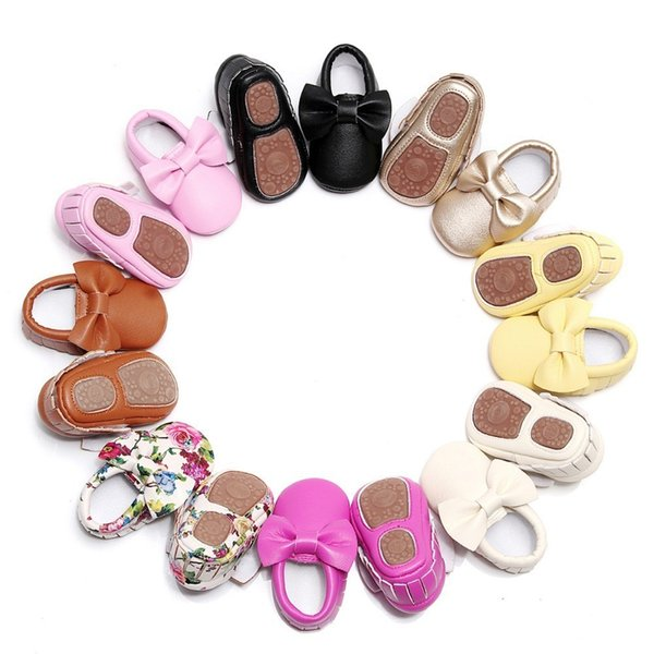 Mix Order Wholesale 10 Pairs Fashion Infant 0-4years Lovely Bow Hard Sole Toddler Moccasins Leather Baby Girls First Walker Shoes