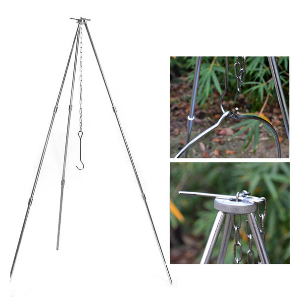 Portable Outdoor Cooking Tripod Cooker Camping Picnic Hanging Pot Campfire Grill Stand strong telescopic picnic tripods