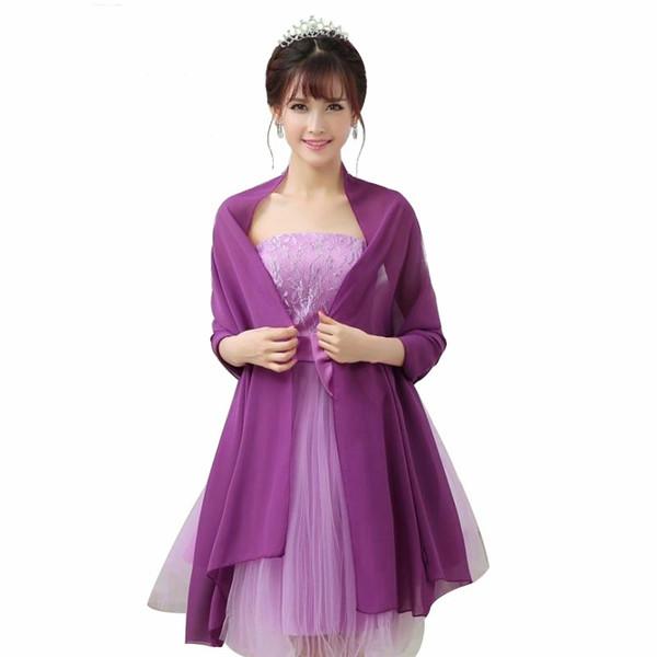 200cm*75cm Woman Wedding Wraps Bolero Chiffon Jacket Shrug For Bridal Party Custom Made Color Avaliable 2019