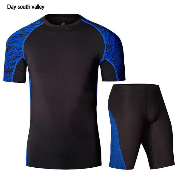 Kit Rashgard Homme T-Shirt Body Homme Manches Courtes + Pantalon Vêtement de compression 2 pièces stretch à séchage rapide