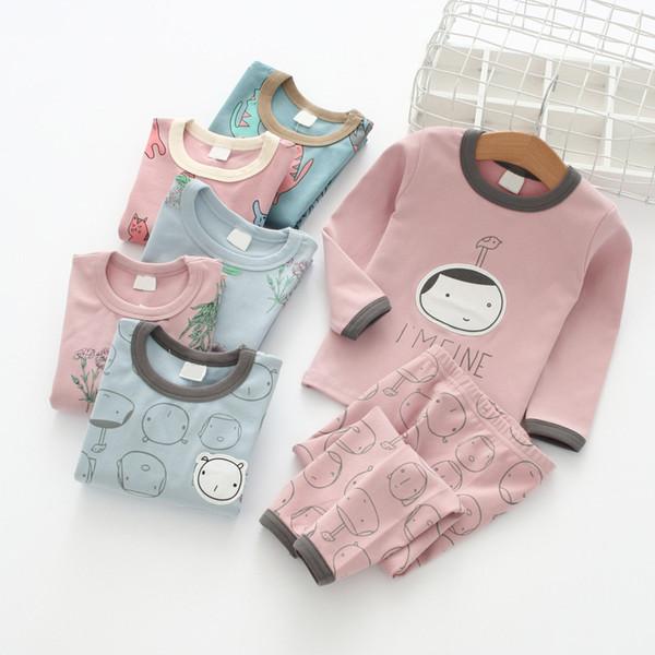 Baby-Unterwäsche-Sets Cartoon Blumendruck Kinder Home Kleidung 2018 Herbst