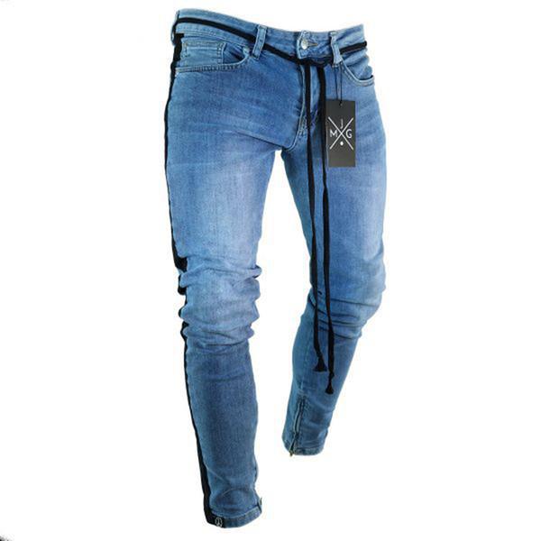 European American High Street Fashion Skinny Jeans Men Ankle Zipper Black Stripe Elastic Punk Pants Hip Hop Jeans Homme