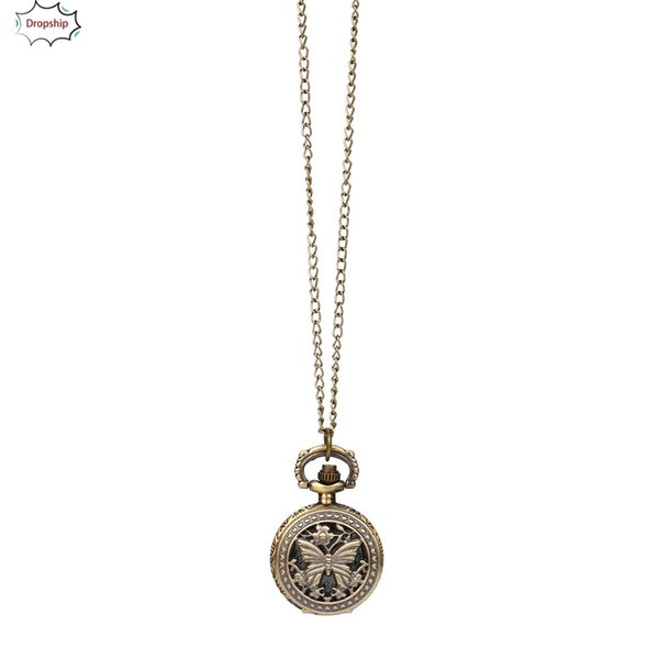 Men Watch Vintage Steampunk Retro Bronze Design Pocket Watch Quartz Pendant Necklace Gift Retro DropShiping Dec17 p45