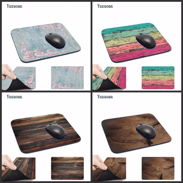 Yuzuoan photo pictures DIY Wooden Floor Computer Mouse Pad Mousepads Radiation Non-Skid Rubber Pad Not Overlock Mouse