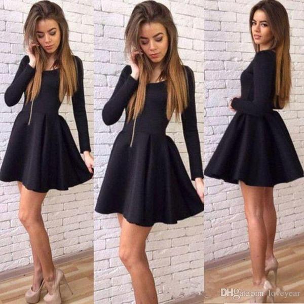 Compre Negro Mini Vestidos De Fiesta Cortos Elegantes Joyas Mangas Largas Vestidos De Noche Por Encargo Simple Baratos Vestidos De Baile Vestidos De
