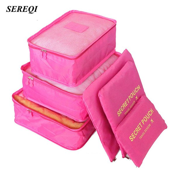 Sereqi 6pcs /1set Travel Waterproof Storage Bag Clothes Underwear Bra Packing Cube Luggage Organizer Closet Divider Container