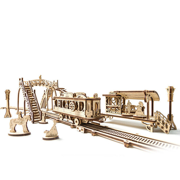 3D Puzzle Wood Mechanical Transmission Model Building Blocks Toy DIY Jigsaw Puzzle Educational Toys Best Model Toy Gifts for Kids& Adults