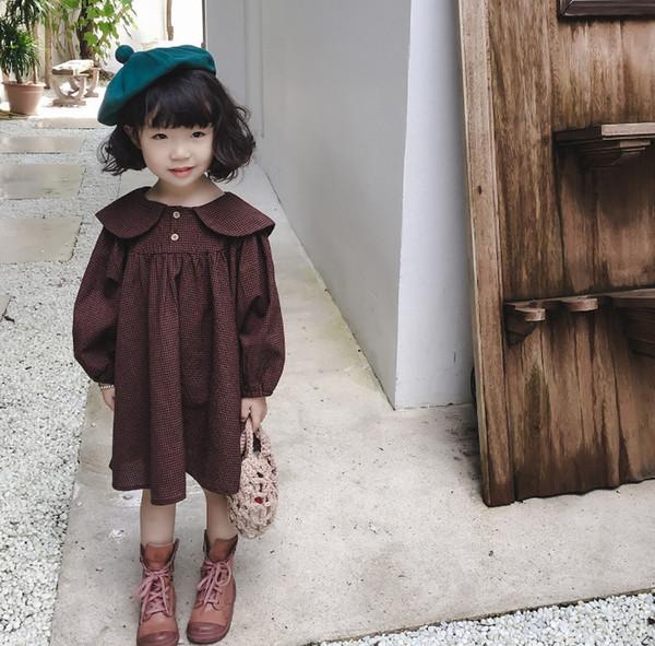 Enfants robe à carreaux filles mignonne lapin oreille revers manches longues robe enfants robes d'automne preppy style filles treillis robe de princesse F2428