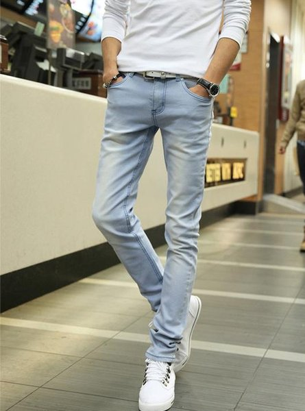 2018 Mens Jeans New Fashion Men Casual Jeans Slim Straight High Elasticity Feet Loose Waist Long Trousers Hot Sell YB28-34