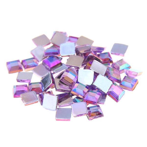 Couleur violet clair AB acrylique strass FLATBACK carrés plusieurs tailles pour l'artisanat bricolage scrapbooking Vêtements Nail Art Décoration